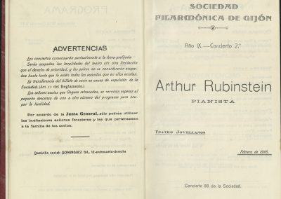 12. Concierto de Arthur Rubinstein I. Febrero 1916
