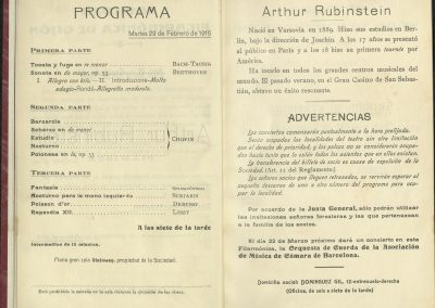 13. Concierto de Arthur Rubinstein II. Febrero 1916