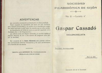 14. Concierto de Gaspar Cassadó I. Abril 1916