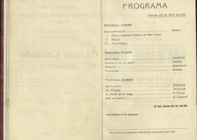 15. Concierto de Gaspar Cassadó II. Abril 1916