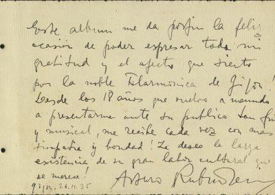 2. Álbum de firmas. Arthur Rubinstein. Noviembre 1935