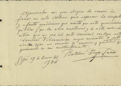3. Álbum de firmas. Bartolomé Pérez Casas. Enero 1936