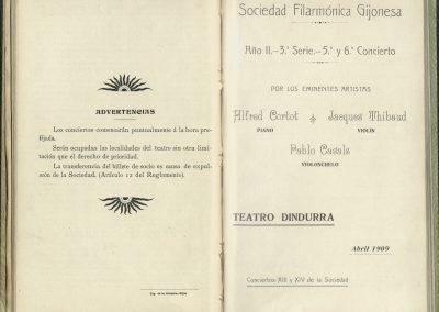 4. Concierto Trio Cortot, Thibaud, Casals I. Abril 1909