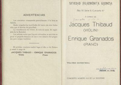 8. Concierto Thibaud y Granados I. Marzo de 1912